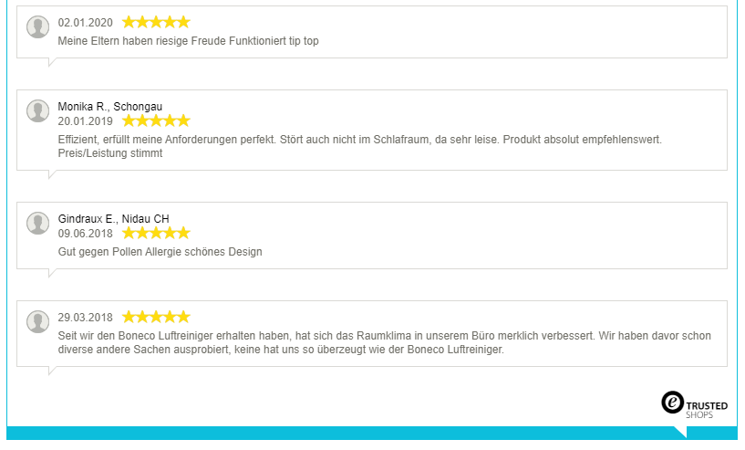 Nur positive Bewertung für den Boneco P500 Luftreiniger, nur zufriedene Kunden!