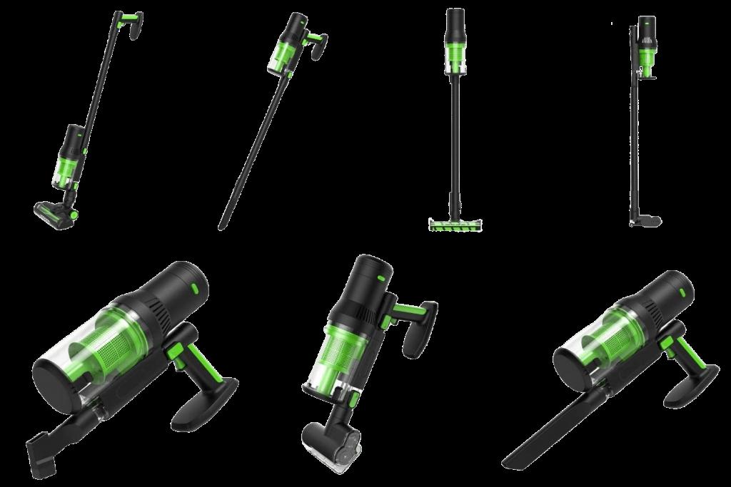 ecoQ Rena kabelloser Staubsauger mit diversen Kombinantionsmöglichkeiten, auch für die Verwendung als Handstaubsauger.